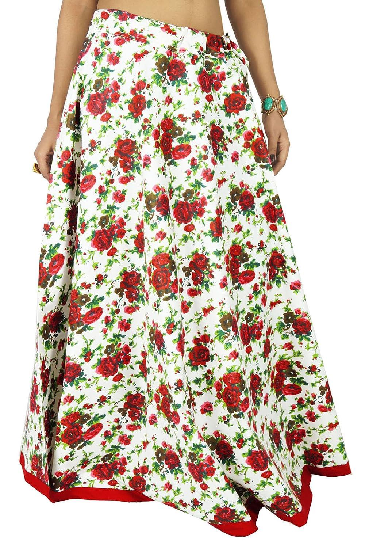 Moda floral impresión blanca de algodón de las mujeres de Boho ...