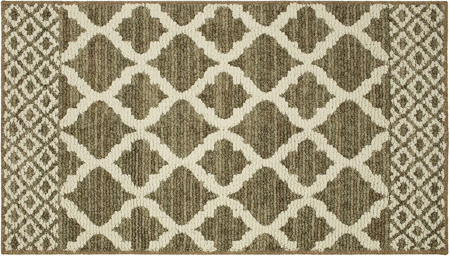 Amazon Com Mohawk Home Moroccan Lattice Dark Khaki Cream Area Rug 1 8x3 Furniture Decor