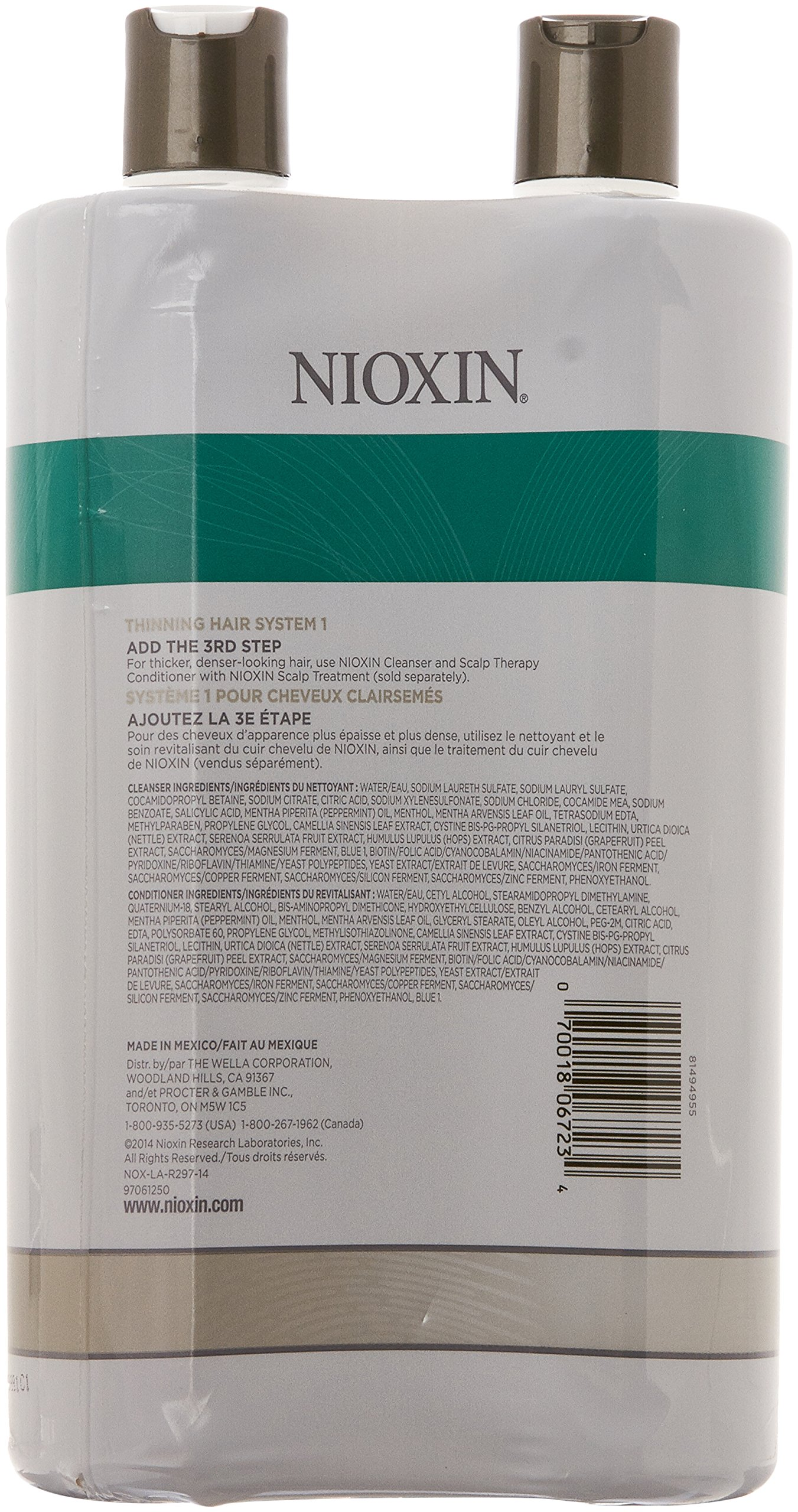 Nioxin System 1 Cleanser and Scalp Therapy Conditioner, 33.79 Ounce (Pack of 2)