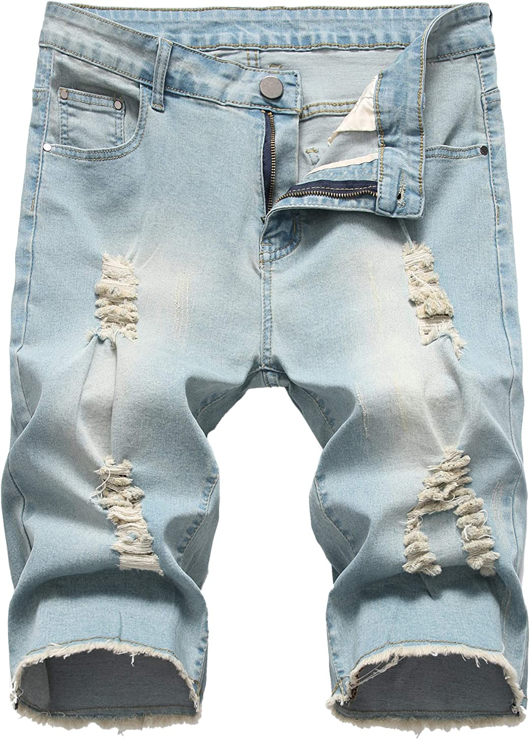 Grimgrow Mens Casual Ripped Short Jeans Mid Waist Distressed Denim Shorts