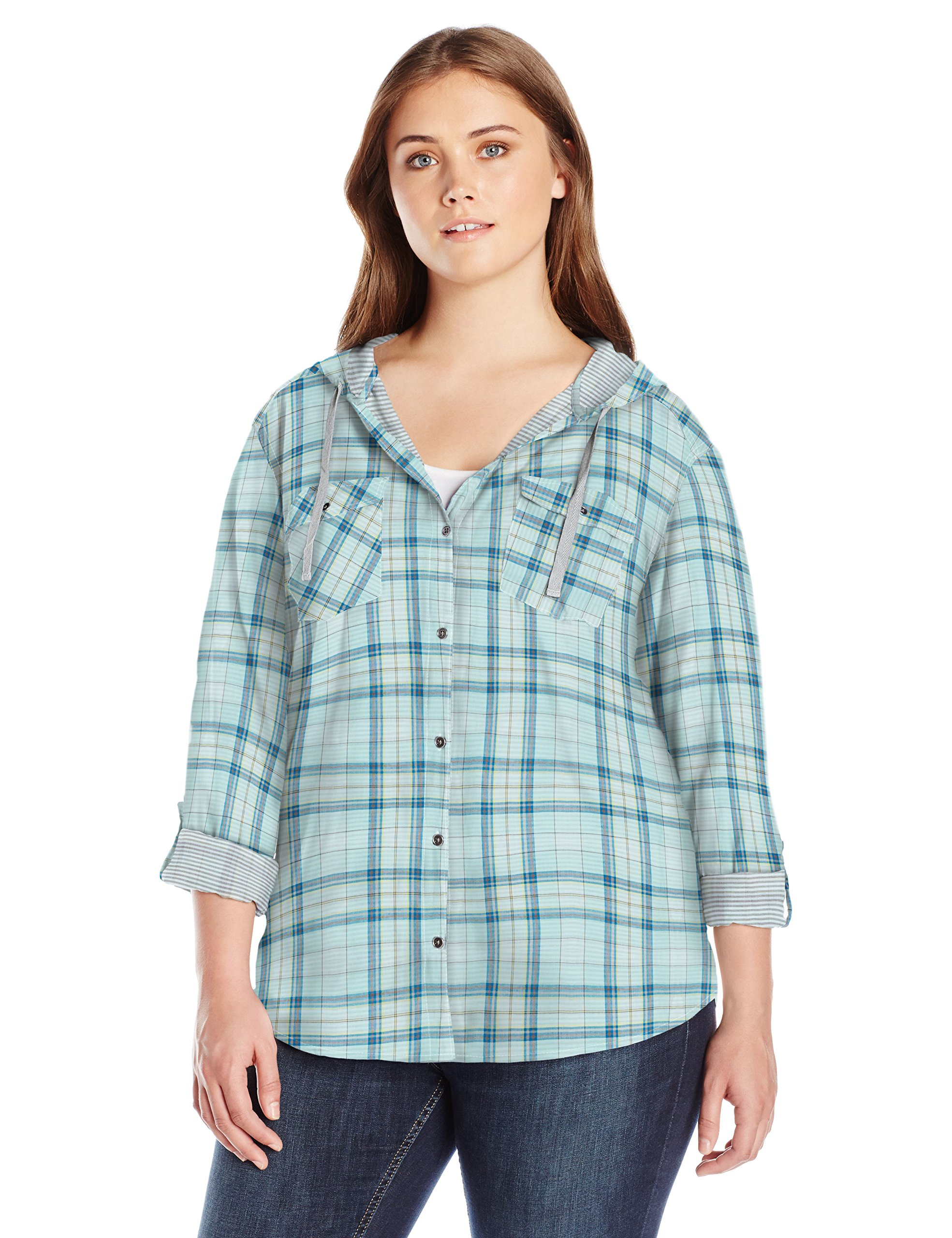 Columbia Women's Plus Size Times Two Hooded Long Sleeve Shirt, Wind, 2X
