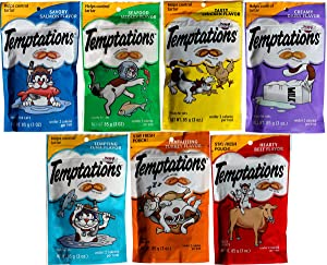 Temptations Treats for Cats.7 Flavors: Tantalizing Turkey, Chicken, Hearty Beef, Tuna, Creamy, Savory Salmon, Seafood Medley