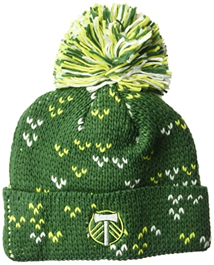 8248bf11484 Image Unavailable. Image not available for. Color  adidas MLS Portland  Timbers Women s Fan Wear Cuffed Pom Knit Beanie ...
