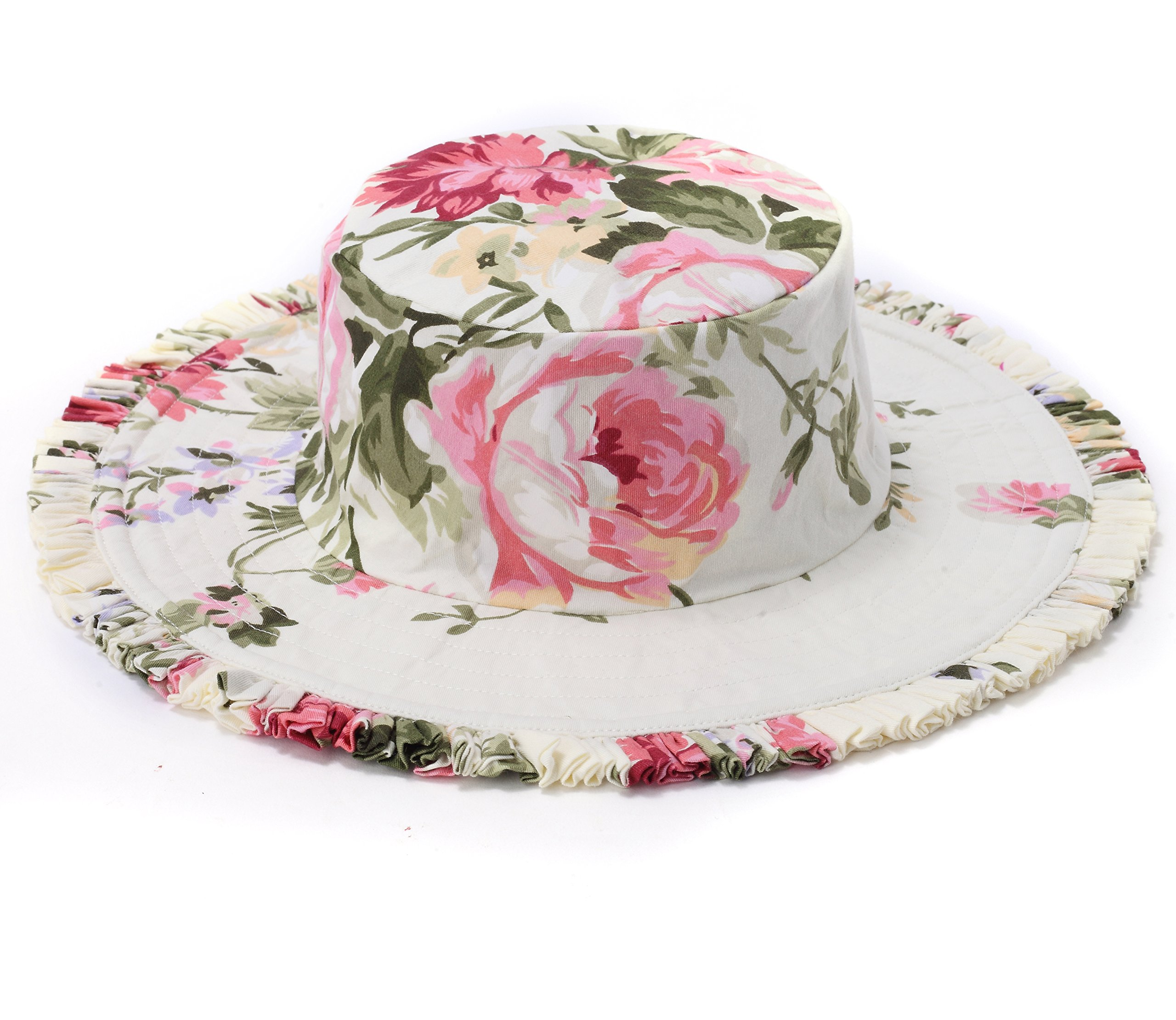 Flofallzique Sun Hat Toddler Girls Summer Outdoor Protection Hat Floral Cotton Hat for 1-8 Years Old Girls (S(1-3 Years Old), Cream