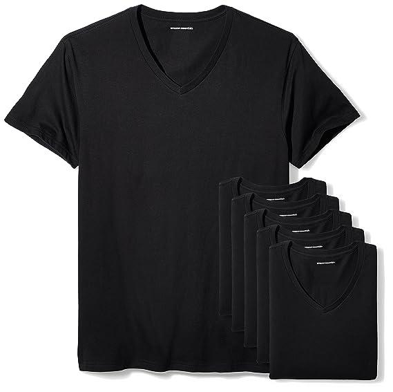 ecae92ad Amazon.com: Amazon Essentials Men's 6-Pack V-Neck Undershirts: Clothing