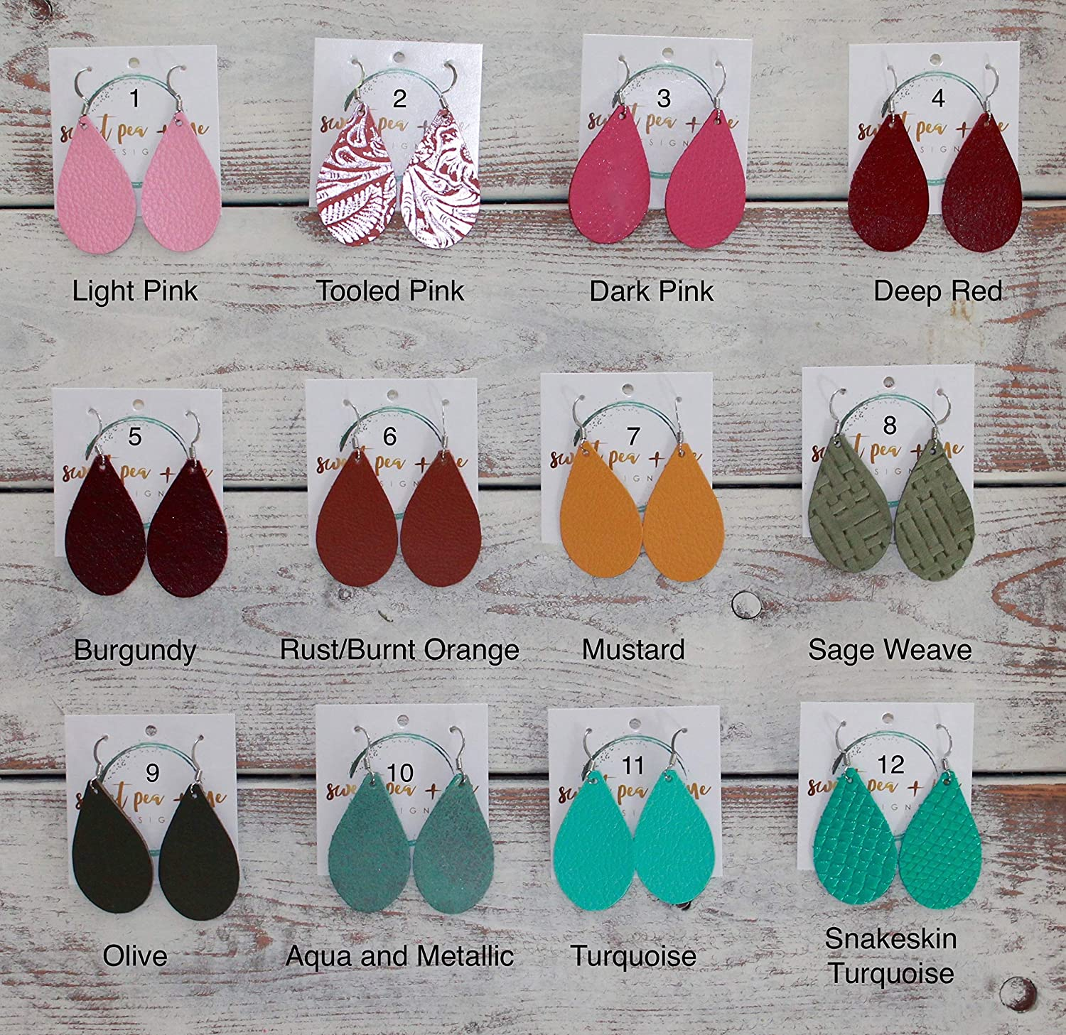 Extra Small Lightweight Handmade Leather Teardrop Earrings - 53 Stylish Colors