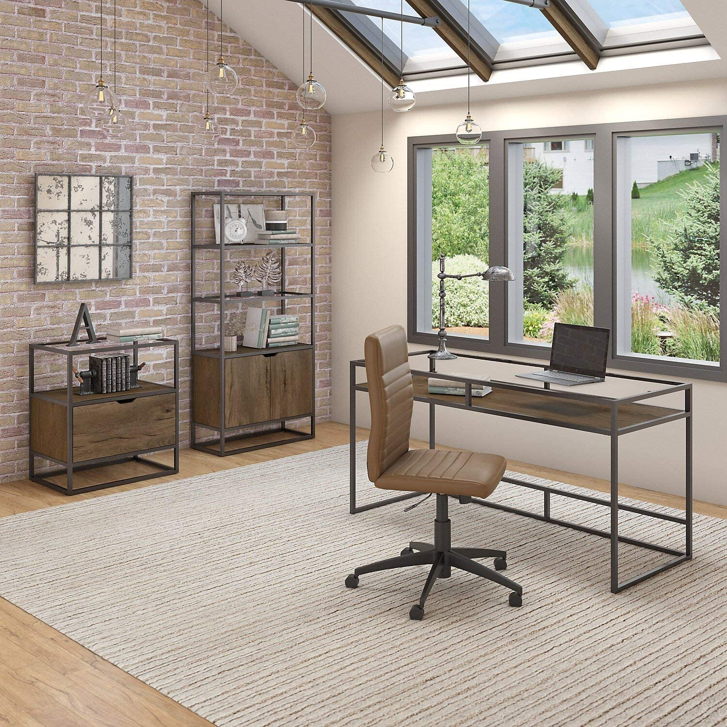 Bush Furniture Anthropology 60W Glass Top Writing Desk with Bookcase and Lateral File Cabinet in Rustic Brown