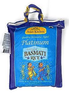 Asian Kitchen Platinum White Basmati Rice Extra Long Aged, 4 Pound (4lbs, 1.81kg) ~ All Natural   Vegan   Gluten Free Ingredients   Indian Origin