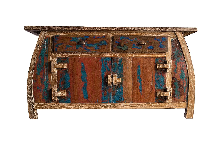 (K9)Vintage Teak gebogene Kommode, Kabinett, Sideboard, Schrank, Shabby, Antik Retro, Chic