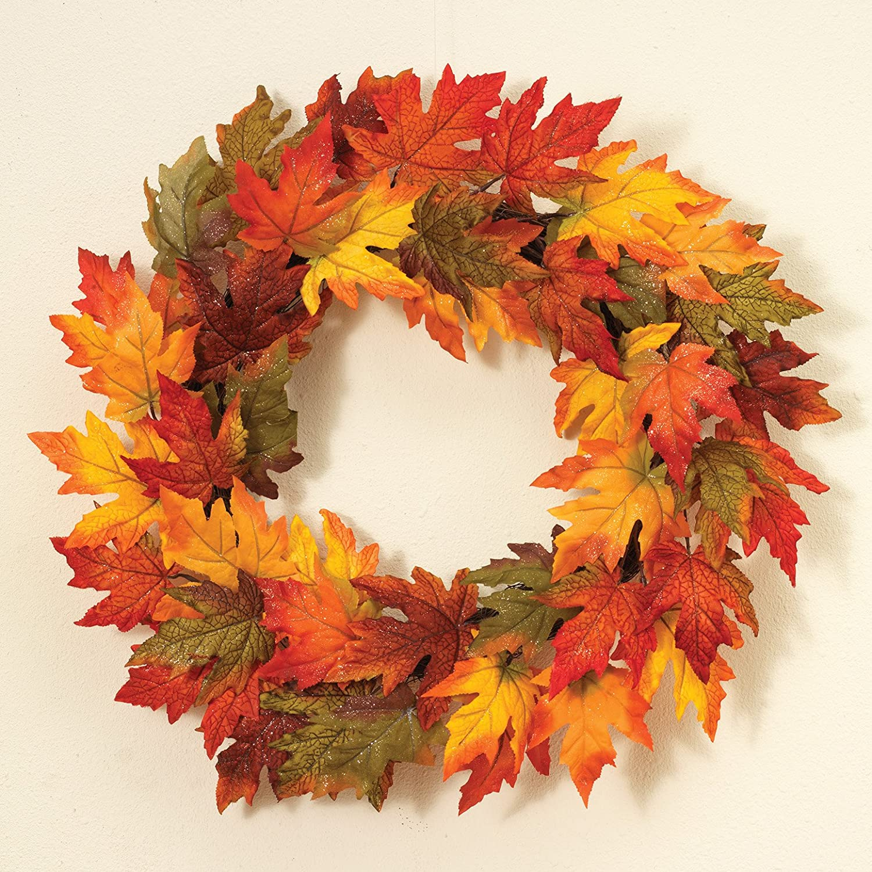 One Holiday Lane 24 Inch Gold Glitter Maple Leaf Wreath Fall Decoration
