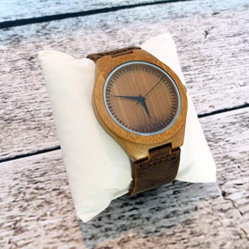 Amazon.com: Personalized Genuine Wood Watch with Leather Band (MW1): Handmade