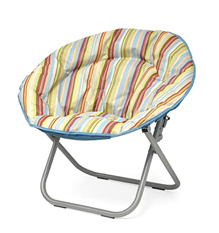 Urban Shop Cabana Stripes Saucer Chair, Burnt With Light Blue Trim, One Size