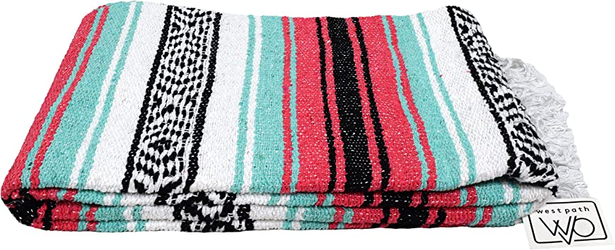 """Pink Authentic Mexican Blanket Hand Woven 73/"""" X 48/"""""""