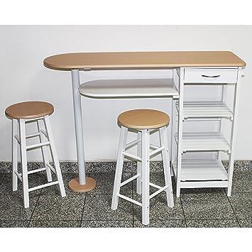 Küchenbar mit 2 Stühlen Frühstückstheke Küchentisch Küchenmöbel ...