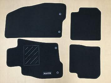 Amazon.es: Alfombras de moqueta, 2 delanteras + 2 traseras, con 2 puntos de fijación, originales para Fiat Grande Punto EVO