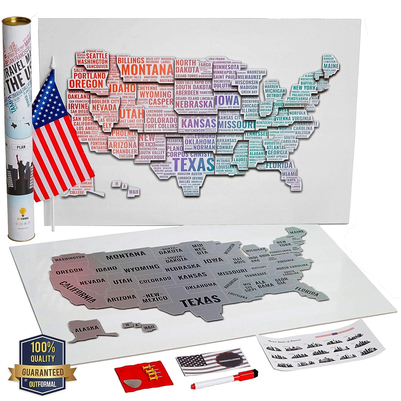光るスクラッチオフアメリカ地図 - 暗闇で光る 米国地図 スクラッチオフ ラミネートポスター - アメリカ合衆国シルバーマップ - デザイナーナイトUSAマップポスター 州と都市 - 旅行ギフト B07HCMHRTG