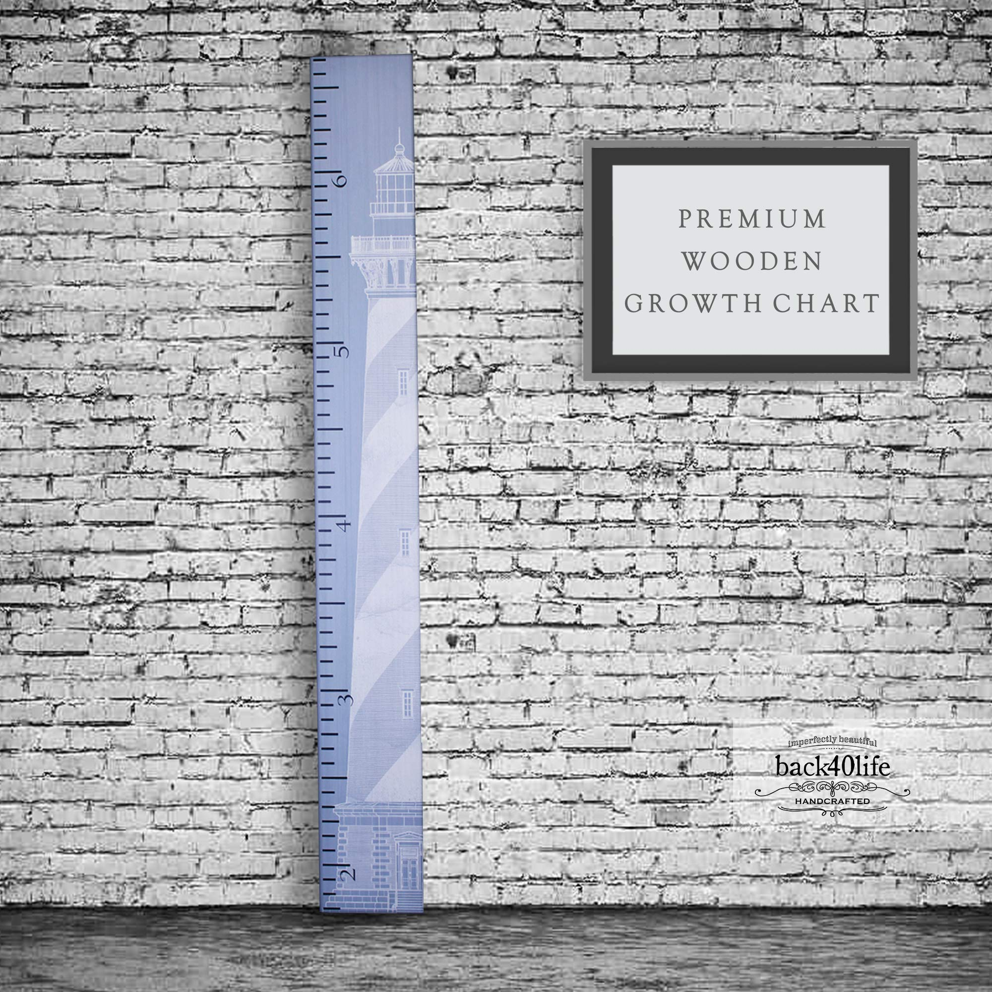 Back40Life - Premium Series - (The Lighthouse) Wooden Growth Chart Height Ruler (Slate Blue) by Back40Life