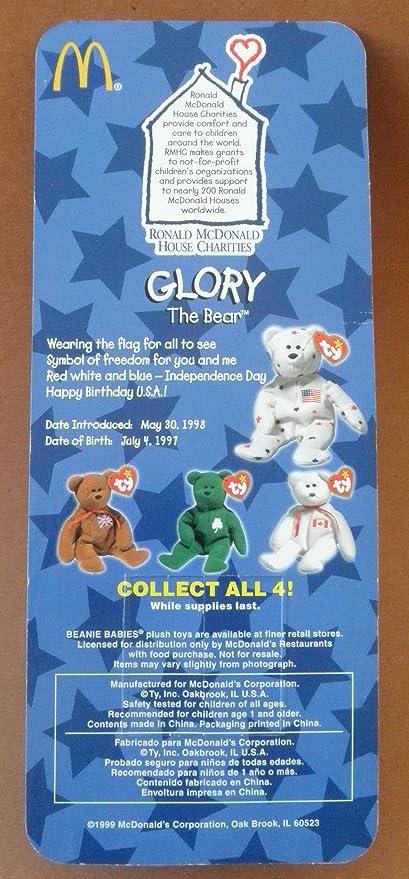 Buy 1 X Ty Beanie Babies Glory The Bear Plush Toy Stuffed