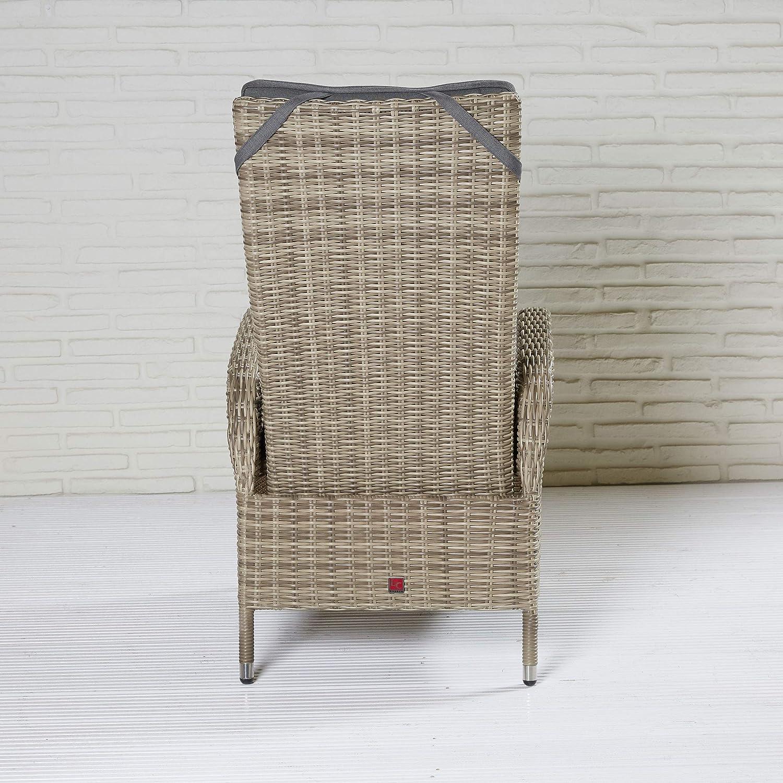 8X Gartenstuhl Gartensessel Positionsstuhl Verstellsessel Valencia Dining braun//beige Polyrattan Aluminium mit Auflage