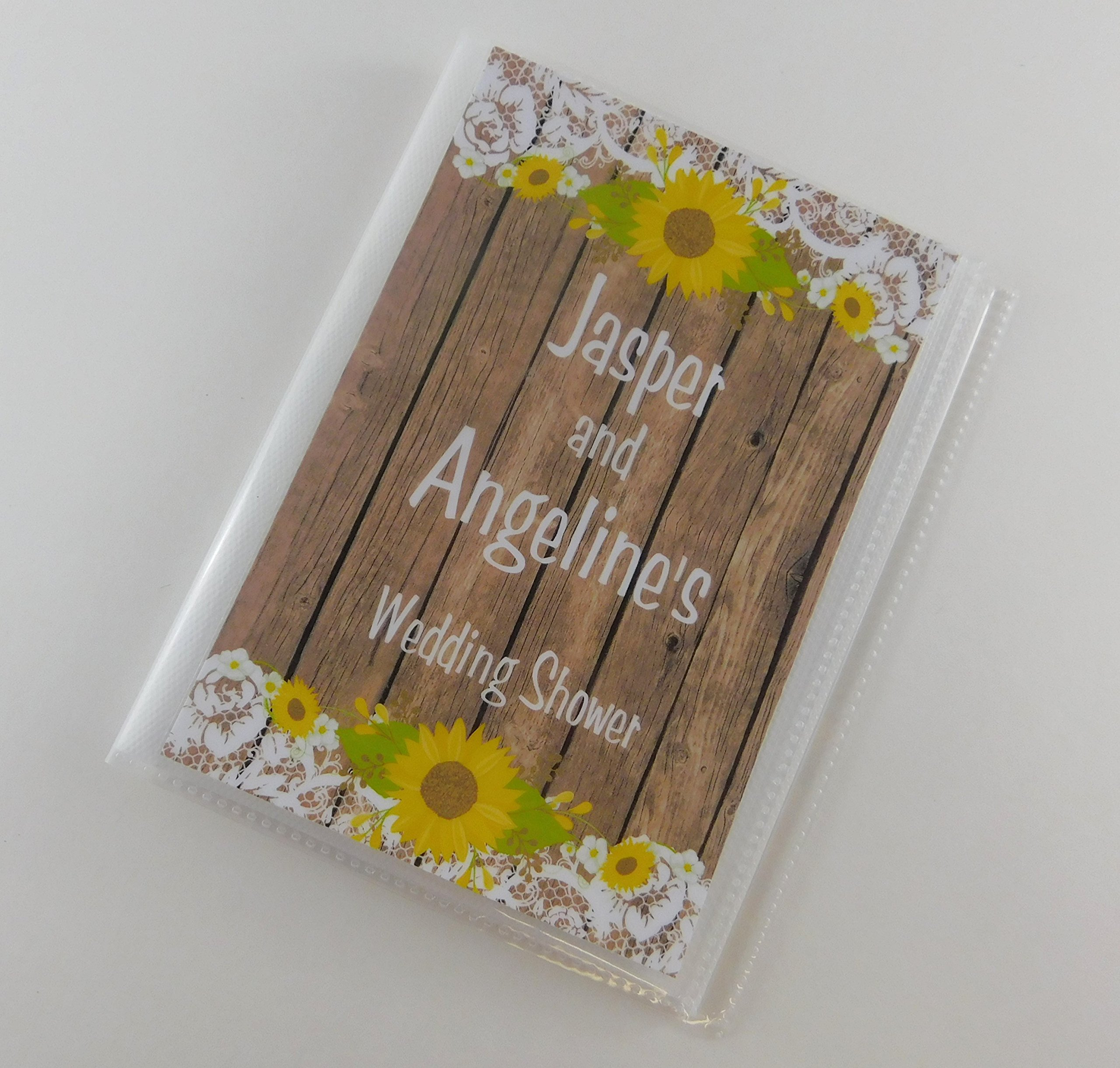 Photo Album Wedding IA#919 Engagement Anniversary Advice Cards Bridal Shower Gift 4x6 or 5x7 Picture NOT REAL Wood Sunflower Lace