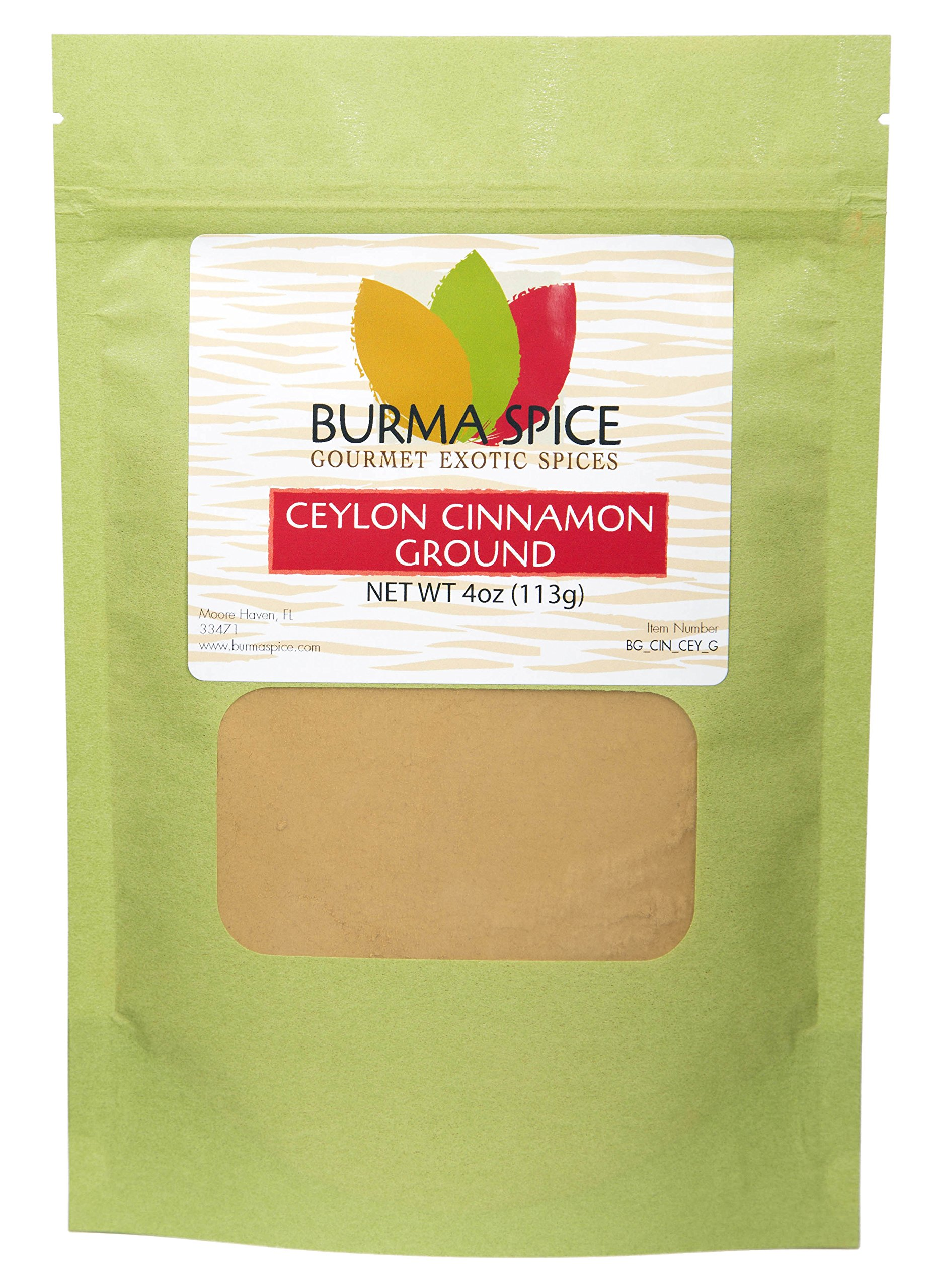 Ground Ceylon Cinnamon | Very freshly ground | Highest Premium Grade | 100% Pure with no additives | Kosher Certified (4oz) by Burma Spice (Image #1)