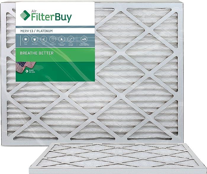 FilterBuy 24x30x1 MERV 13 Pleated AC Furnace Air Filter, (Pack of 2 Filters), 24x30x1 – Platinum