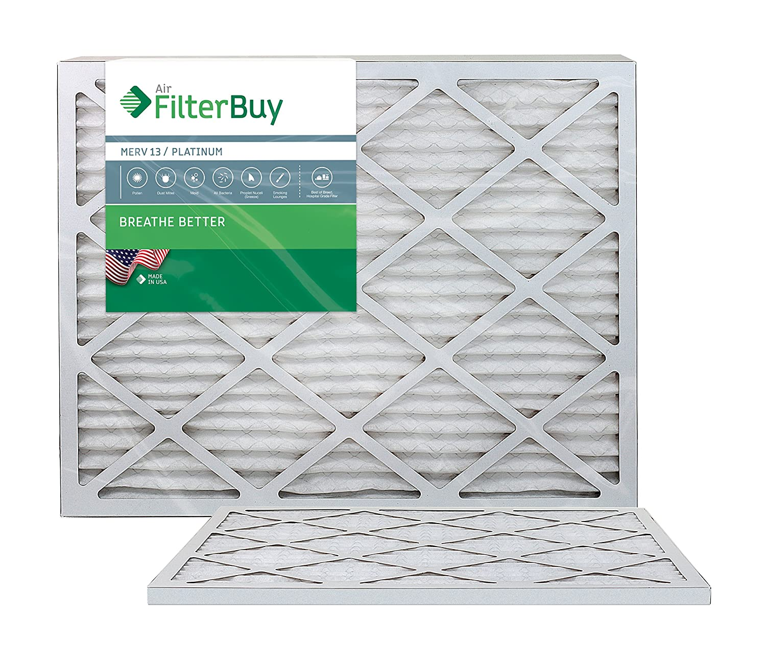 FilterBuy 18x30x1 MERV 13 Pleated AC Furnace Air Filter, (Pack of 2 Filters), 18x30x1 – Platinum