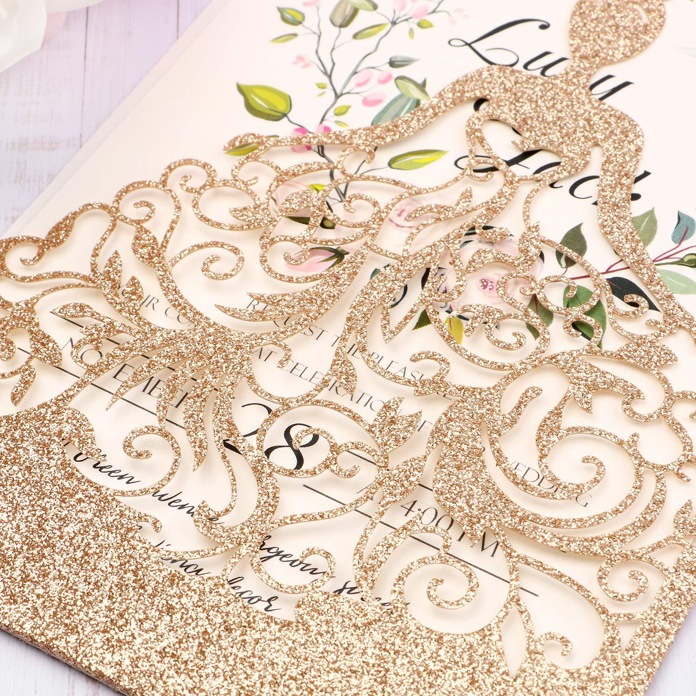 HIGHYI Wedding Invitation Card-Laser Cut Rose Gold Glitter Hollow Bride 25PCS Paper Card Set For Wedding Engagement Birthday Baby Shower Dinner (DIY Blank Inner Sheet) by HIGHYI (Image #3)