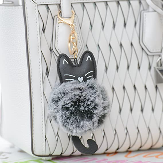 Home Decor Home Toy Cute Leather Cat Keychain Hanging Decor Plush Toy Kitten Pendant Women Fluffy Fur Pom Pom Keyring Bag Hang Plush Toy With A Long Standing Reputation Wind Chimes & Hanging Decorations