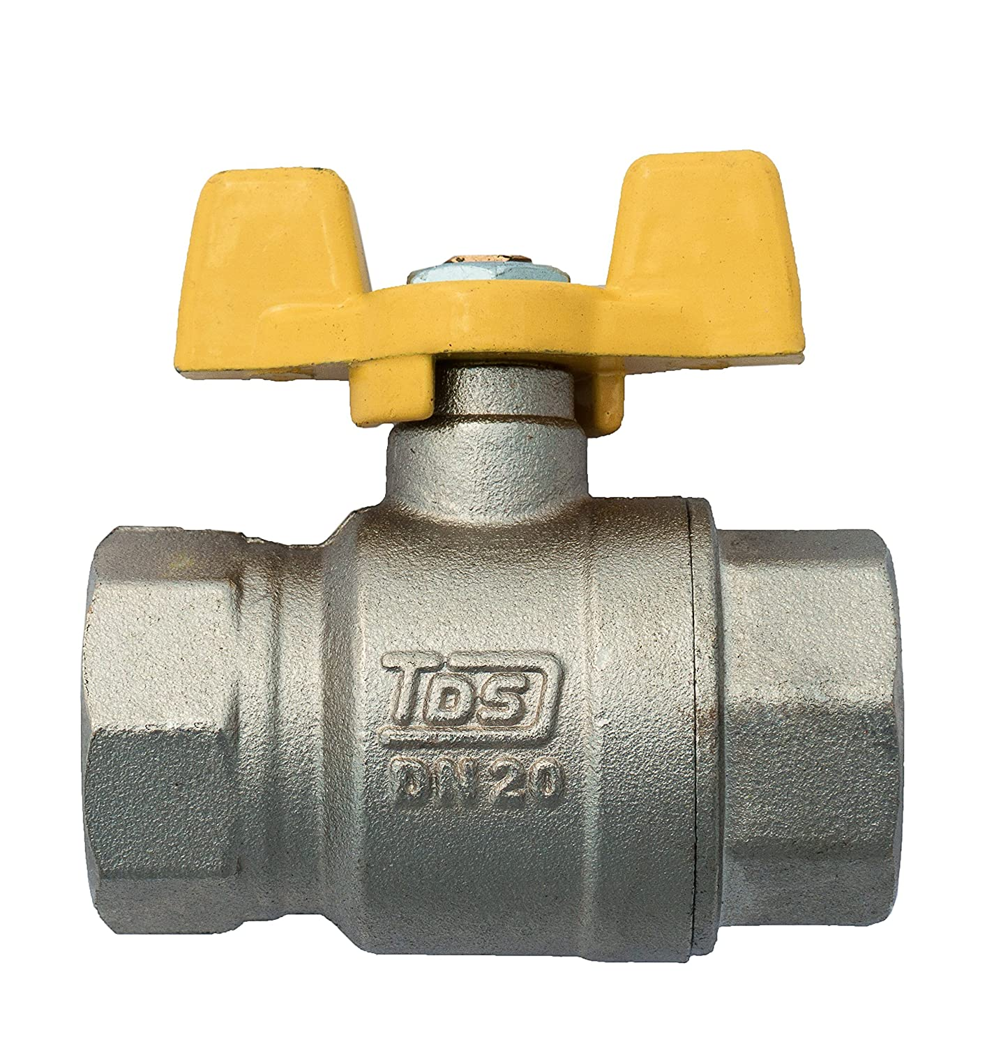 3/4' Gas Ball Valve FEMALE X FEMALE BSP TF Yellow Butterfly Handle BFG