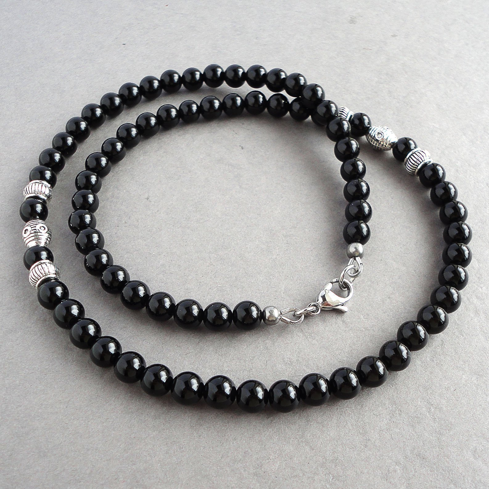 Mens Black Onyx Necklace 19 inches - Made with 6mm High Quality Gemstone Beads - Handcrafted in USA