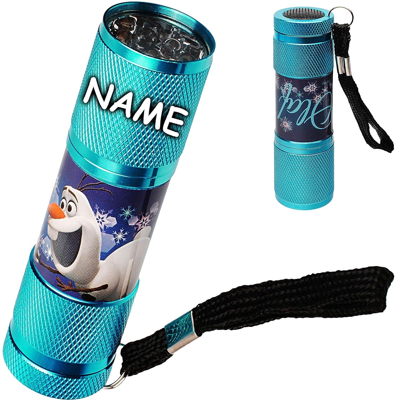 alles-meine.de GmbH Taschenlampe LED - Disney die Eiskönigin - Frozen - inkl. Name - aus Metall - Mini Lampe / Schlüsselanhänger - 9 Fach LEDlicht - Licht Auto Kindertaschenlampe..