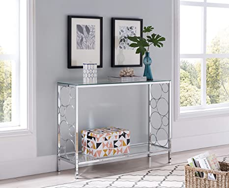 Amazon Com Chrome Finish Glass 2 Tier Contemporary Console Sofa