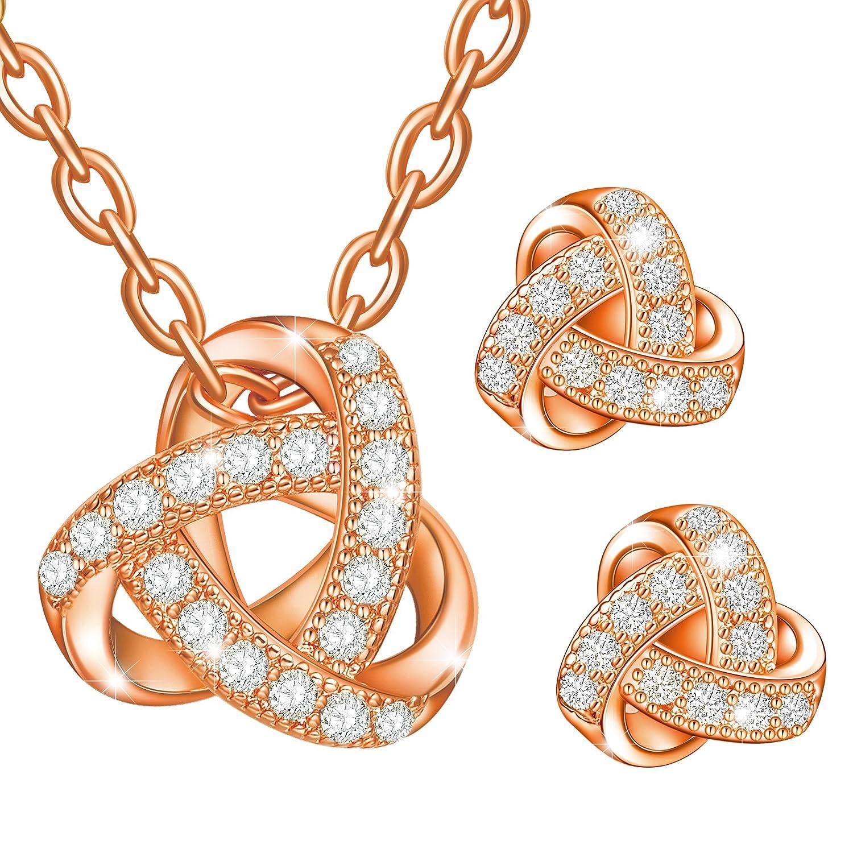 Dawanza Juego de joyas de Cristal Plateado Oro para las Mujeres Triángulo