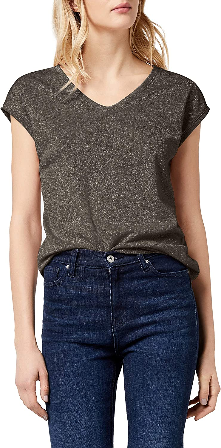 Only Onlsilvery S/S V Neck Lurex Top Jrs Noos Camiseta para Mujer