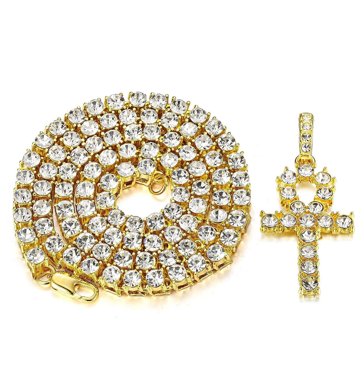 Amazon.com  Milacolato Ankh Cross Pendant 18K Gold Plated Hip Hop Bling  Rhinestone Cubic Zirconia Tennis Necklace for Men Women Jewelry Gold Tone  61cm  ... f7d7fba85810