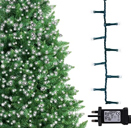 brand new 31f56 7133b Christmas Tree Lights 500 LED 12.5m Bright/Cool White Indoor/Outdoor  Christmas Lights Decorations Fairy String Lights Memory Timer Mains Powered  41ft ...
