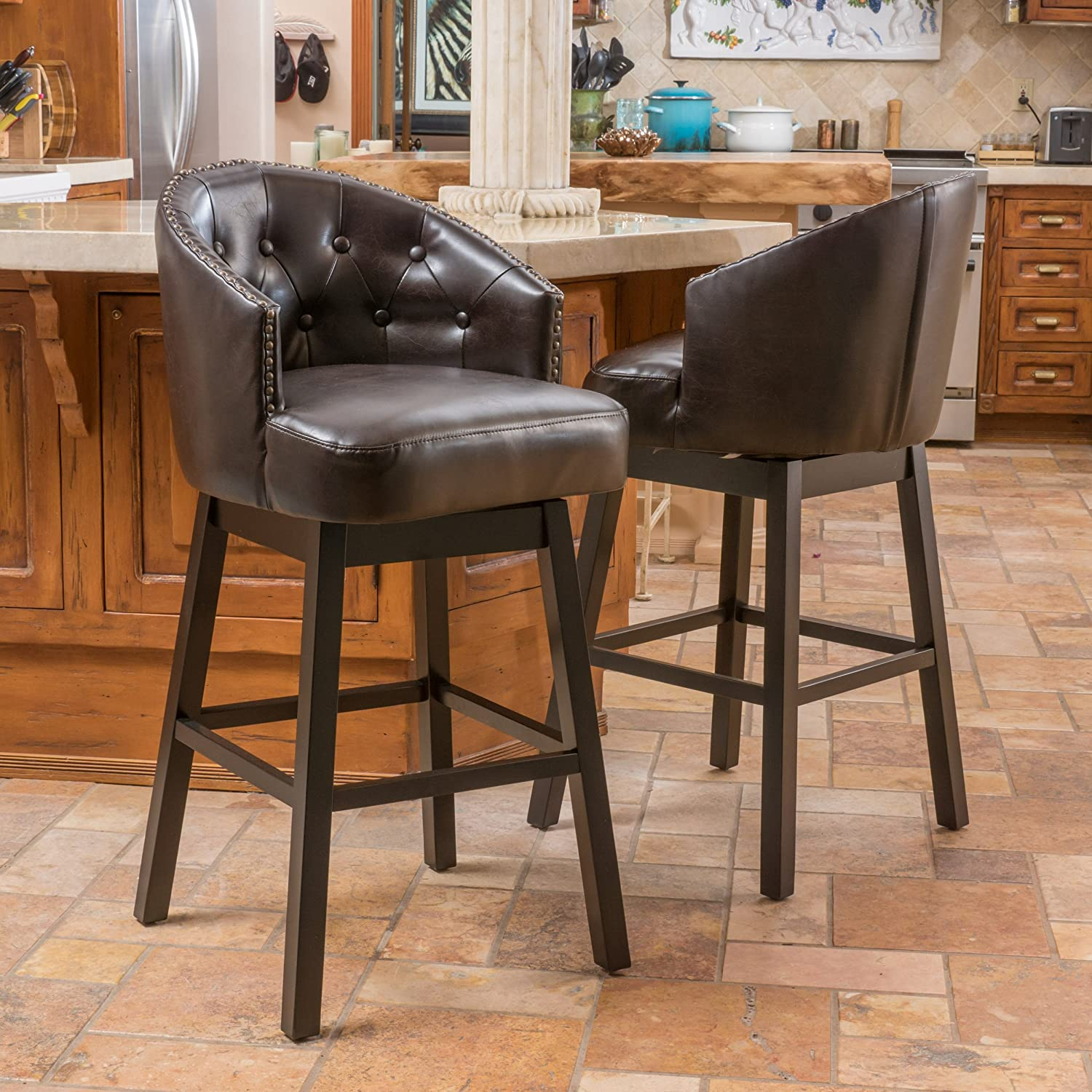 amazoncom set of 2 westman brown leather swivel backed barstool kitchen u0026 dining