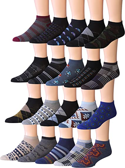 James FialloMen/'s 20 Pairs Classy Extra Lightweight Colorful Patterned Low...