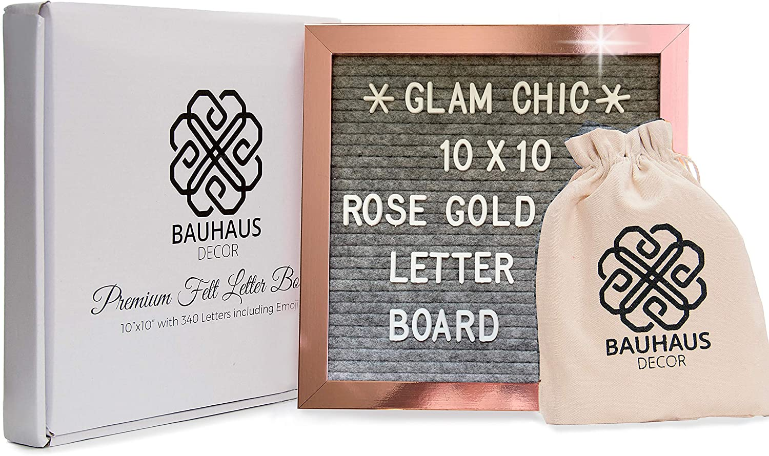 """Rose Gold Framed Letter Board 10""""x10"""" 