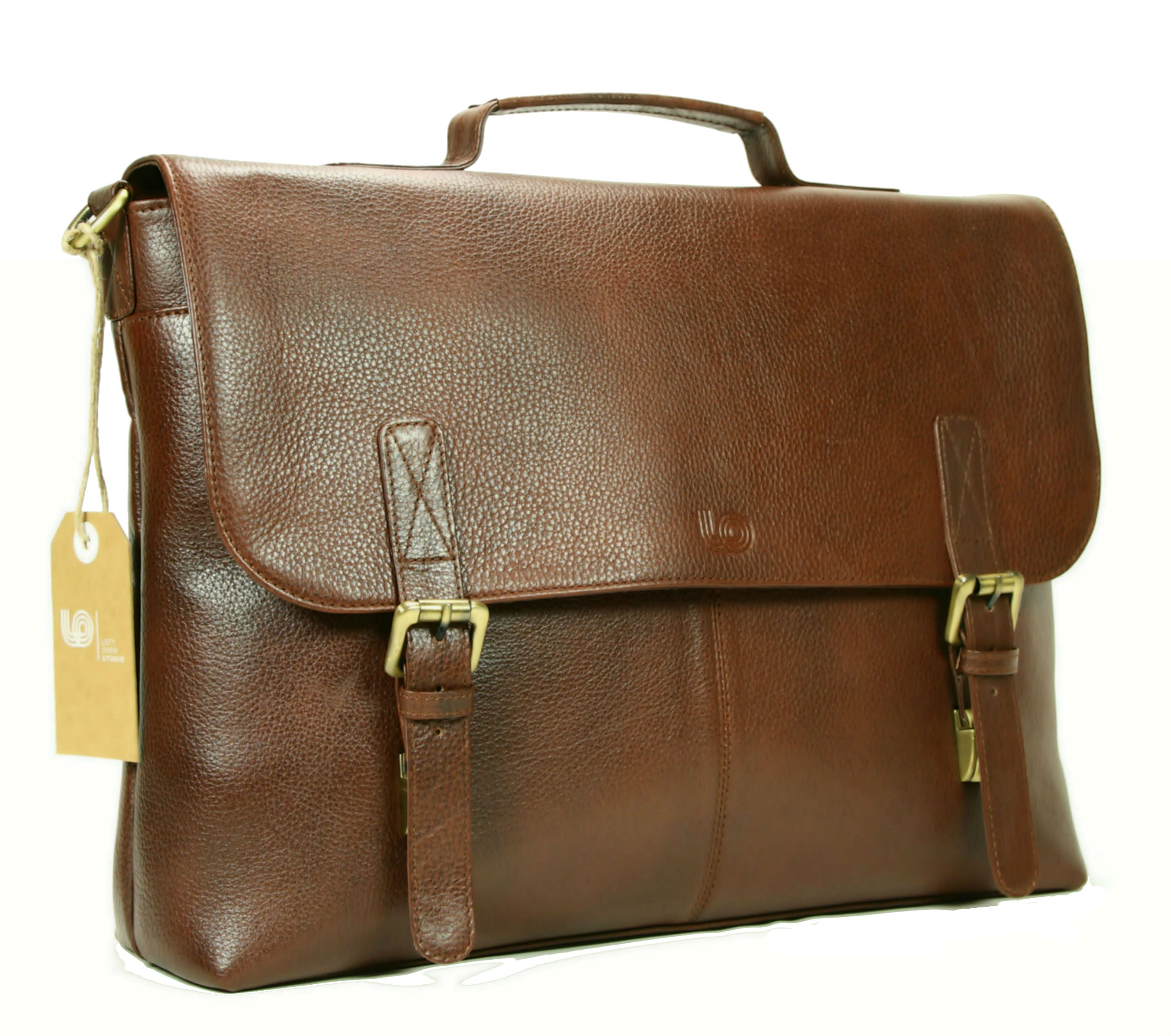 Leather Laptop Briefcase / Messenger Bag / Mens Satchel / Office Work Bag in Brown Top Grain Cow Leather by LeftOver Studio