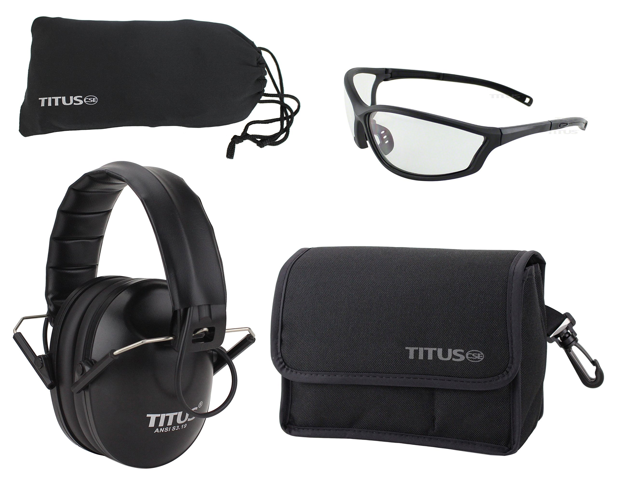 Titus TOP Slim-Line Safety Glasses and Earmuff Combos (Black - Electronic, G26 Clear w/Competition Frame)