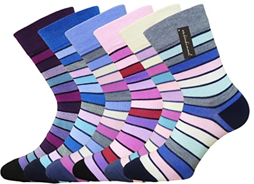 093eaba9dd0ac Damen-Socken ohne Gummi - Komfort-Socken - 6er Pack mit bunten Ringel  Fun-Socken