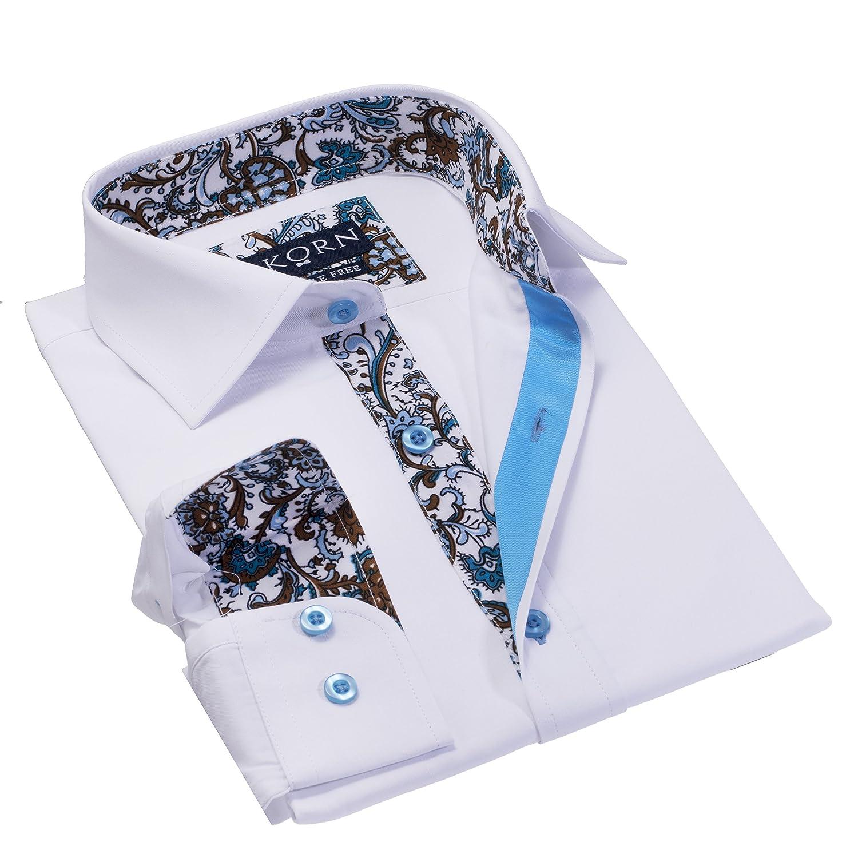 J.Korn Boys Inner Contrast Long Sleeve Cotton Blend Dress Shirt