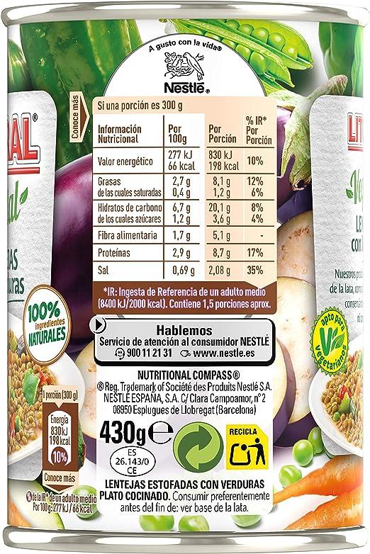 LITORAL Vegetal Lentejas con Verduras - Plato Preparado de Lentejas con Verduras Sin Gluten - 430g: Amazon.es: Alimentación y bebidas