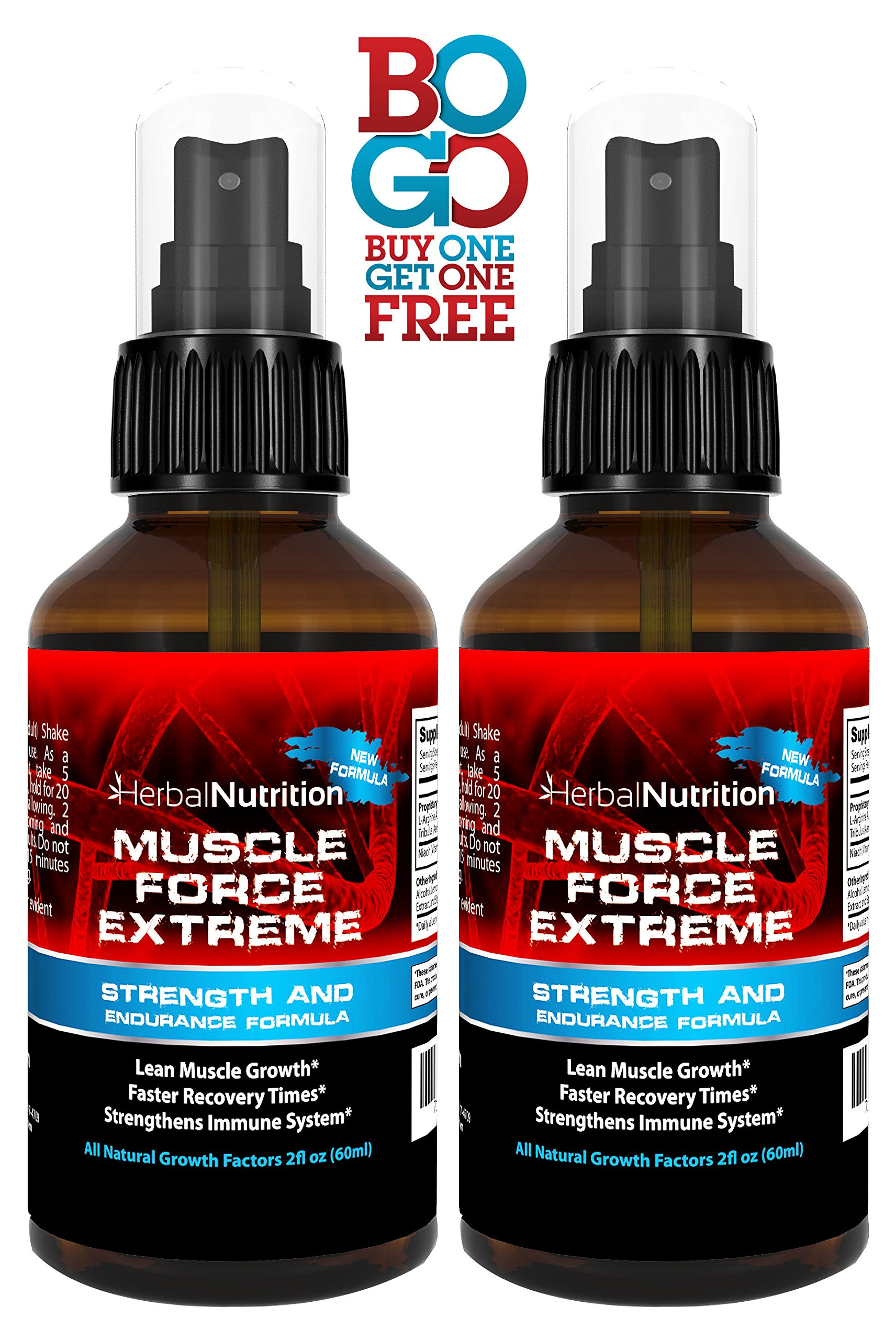 #1 Rated MUSCLE FORCE EXTREME! | Two Bottle Pack | 400mg Proprietary Formula | Our Strongest Strength and Endurance Spray! | Improves Strength and Recovery | Two 2oz Spray Bottles | Free Shipping