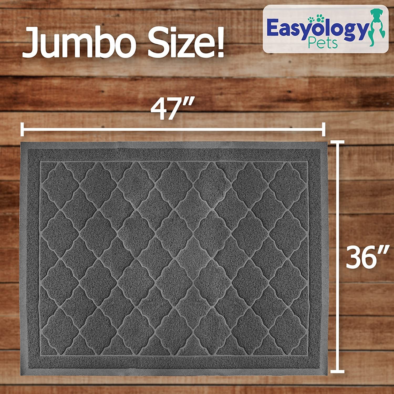 Litter Box Mat with Scatter Control Easy Clean Soft on Kitty Paws Phthalate Free Durable Traps Messes Jumbo Litter Mat 47 x 36 Cat Litter Mat