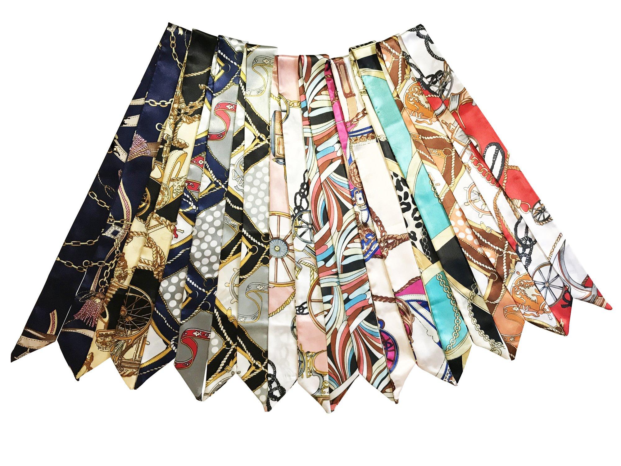 10pcs Fashion Bag Twilly Handbag Handle Ribbon Scarf Package Band Hair Head (Pattem A)