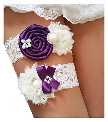 eb378b447 Image Unavailable. Image not available for. Color  Wedding Garters for Bride  Lace Vintage Ivory Peacock Eggplant Purple Rhinestone Keepsake Toss Garter  Set ...