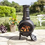 Oxford Barbecues Black Cast Iron Steel Mix Chiminea Chimenea 85cm High with Swing Out Grill